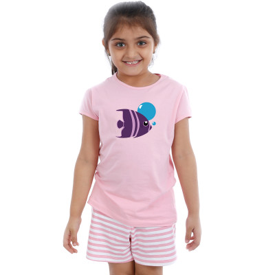 Pink Half sleeve Girls Pyjama - Fish